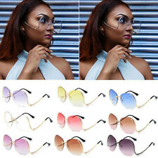 Rimless Round Sunglasses Oversized Women Fashion Optics Metal Frame Eyewear 2017