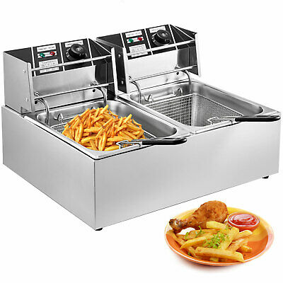 5KW Commercial Deep Fryer 2 Basket Electric Twin Double Tank 22L With Drain Taps