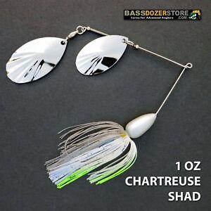 Bassdozer-spinnerbaits-FLUTED-BULLET-1-oz-CHARTREUSE-SHAD-spinner-bait-baits