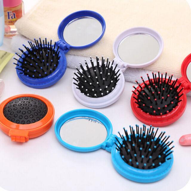 1x Girls Travel Folding Hair Brush with Mirror Pocket Size Comb L3Q