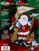 "NEW Bucilla Sports Santa 18"" Felt Christmas Stocking Kit #85322 Golf Tennis etc Craft Supplies"