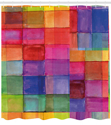 Abstract Shower Curtain Rainbow Colors Squares For Bathroom 84 Extralong 8681776611359 Ebay