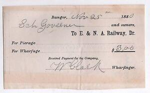 1880 Européen & North American Chemin de Fer Document Réception Trains RR Bangor wuhMDU13-09152902-753254913