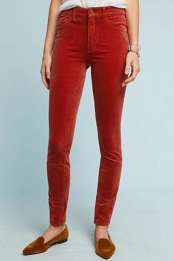 NWT NEW ANTHROPOLOGIE PILCRO SOFT corduroy HIGH RISE SKINNY ANKLE JEANS RUST 28