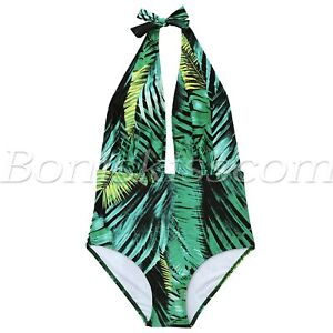Women-039-s-One-Piece-High-Waisted-Backless-Bather-Swimsuit-Bikini-Monokini-Swimwear