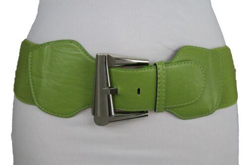 Damen Grün Elastischer Bund Modischer Gürtel Silber Metal Retro Schnalle