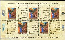 EMISSIONE CONGIUNTA 2009 SAN MARINO - ITALIA Minifoglio Lingua MNH**