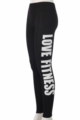 WOMENS LADIES LOVE FITNESS PRINT WORK OUT SIDE PRINT STRETCH LEGGINGS 8-14