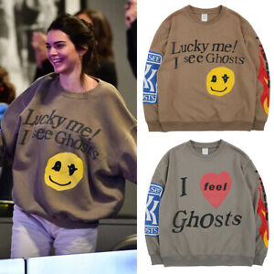 Kendall Jenner Kids See Ghost Smile Face Funky Oversized Sweatshirt Mens Womens