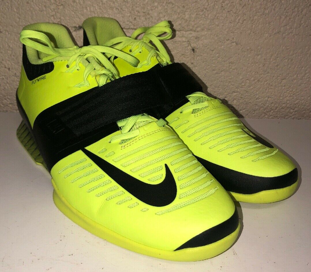 Nike Romaleos 3 Weightlifting CrossFit Trainer Sz 15 Volt Black 852933-700