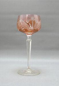 Kristallglas-Roemer-orangfarbender-Uberfang-Bluetenschliff-gekerbter-Stiel-19-5-cm