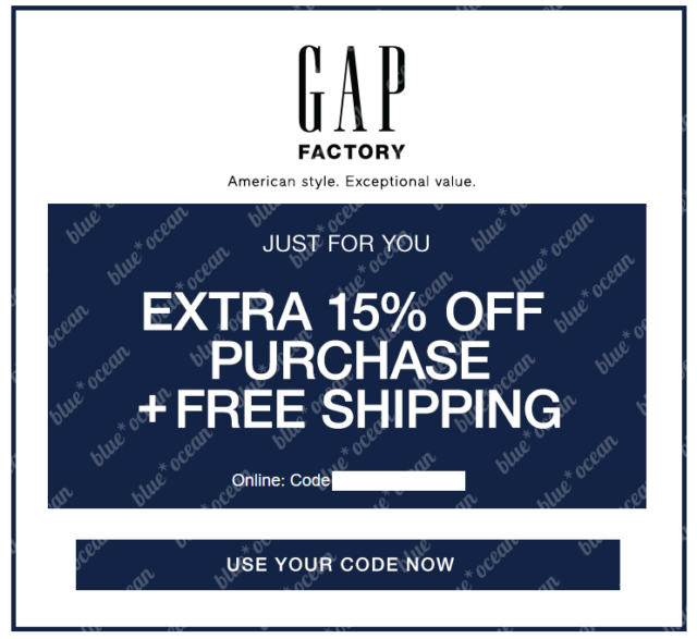 GAP FACTORY - extra 15% off your purchase code coupon + F R E E shipping