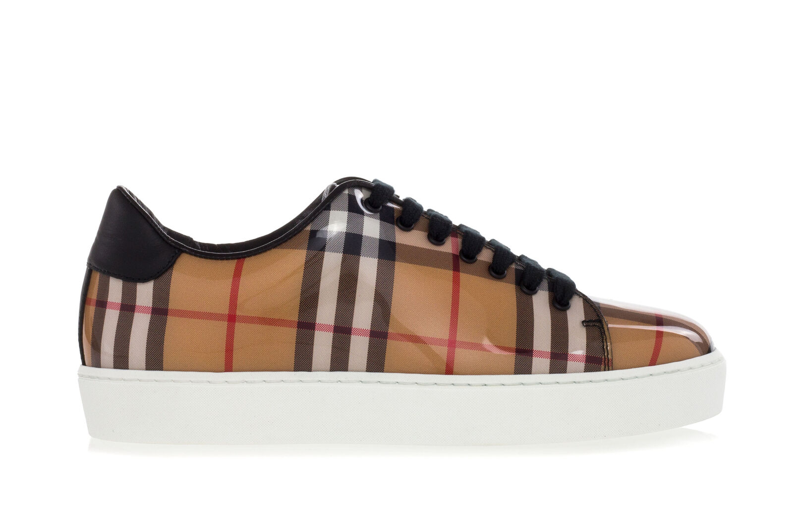 Burberry Chaussures Femmes Baskets Westford Brillant-Finish Vintage Check Basket