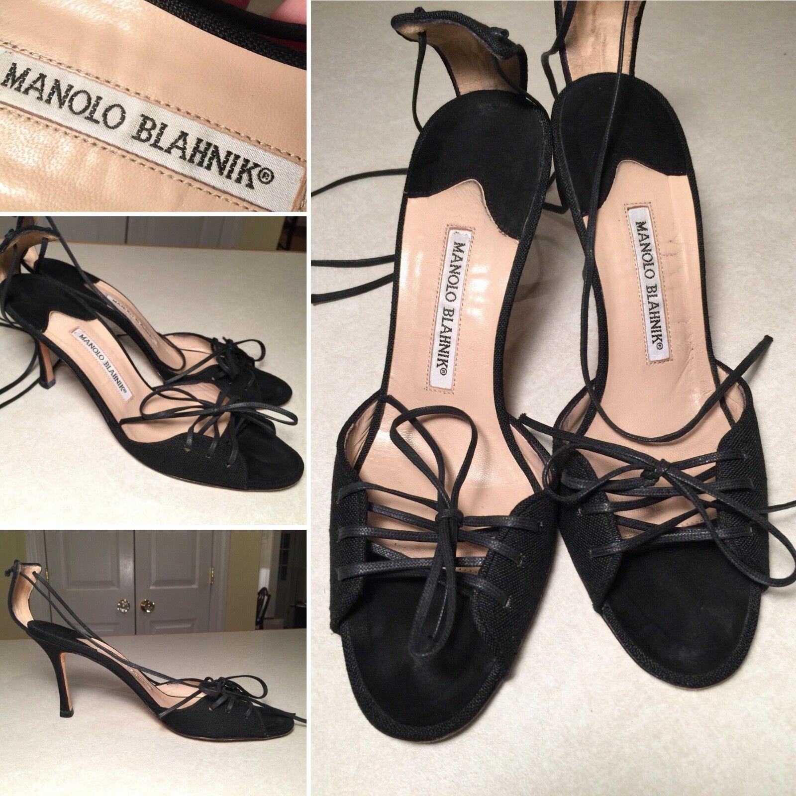 MANOLO BLOHNIK  nero Lace D'Orsay Style Open -Toe Ankle Strap Sandals Heels 8.5  senza esitazione! acquista ora!