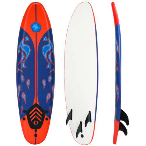 6/' Surfboard Surf Foamie Boards Surfing Beach Ocean Body Boarding Red