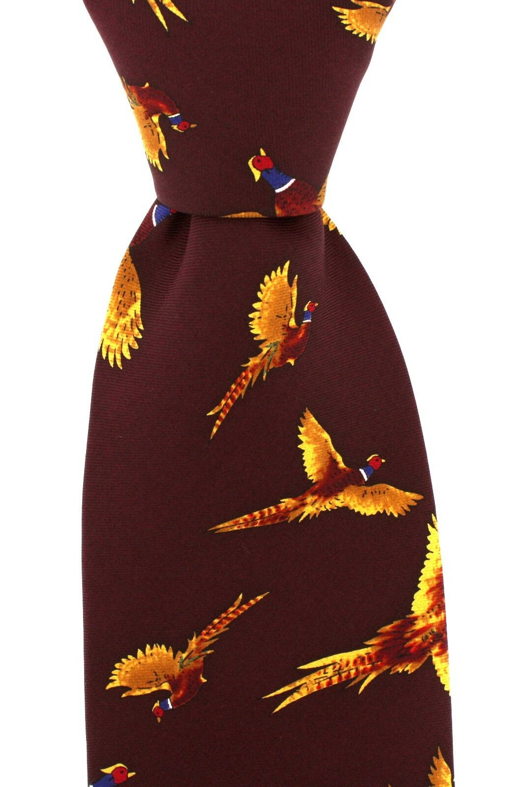 Soprano Dark Red Silk Tie flying Pheasant Design game shooting shotgun (NOV308)