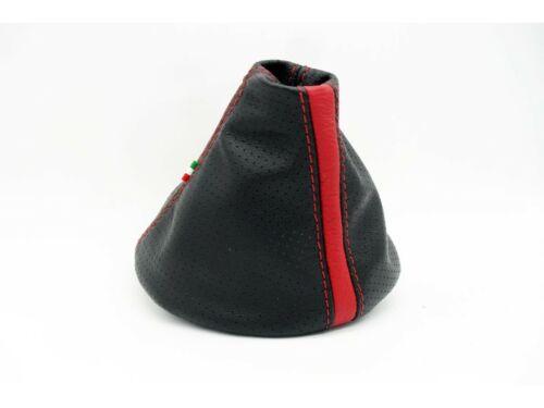 Rot Schwarzes Leder Perforiert Schaltsack von Fiat 500 Serie 312 2006-2009