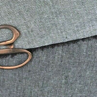 Pure linen black herringbone fabric,material  150 cm wide