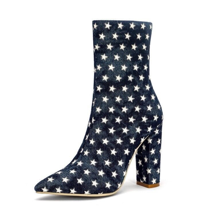 UK Women Denim Pointy toe Star Ankle Boots Party High Heel Block shoes Plus Size