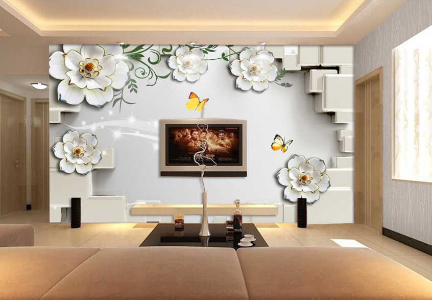 3D Schmetterlinge Blaumen 7321 Tapete Wandgemälde Tapete Tapeten Bild Familie DE