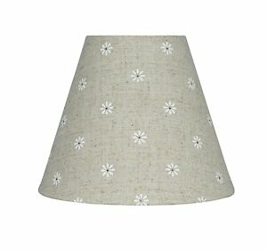 Urbanest mini chandelier lamp shade natural linen w daisies 6 inch