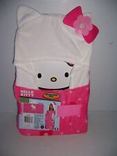 """HELLO KITTY GIRL'S PINK 100% COTTON HOODED BATH TOWEL WRAP  24"""" X 50"""" NEW!"""