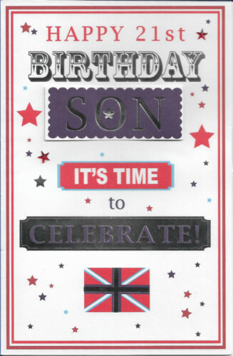 """SON 21ST HAPPY BIRTHDAY GREETING CARD 9"""" BY 6"""" *FREE P+P*"""