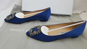 Image is loading New-Authentic-Manolo-Blahnik-Shoes-Hangisi-Flats-Royal-
