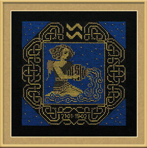 Zodiac Sign Aquarius Counted Cross Stitch Kit Riolis  </span>