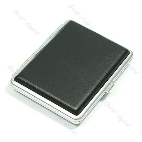 Metal  Black Leather 16 Cigarette Box Case Holder New