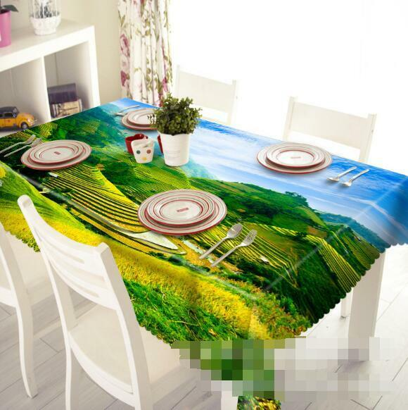 3D Terraced Field Tablecloth Table Cover Cloth Birthday Party Event AJ WALLPAPER
