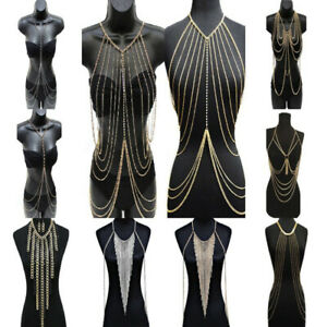 Women-Metal-Tassel-Gold-Tassel-Body-Chain-Harness-Necklace-Fashion-Jewelry