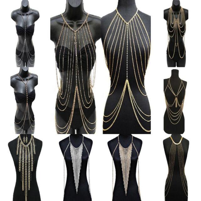 Women Metal Tassel Gold Tassel Body Chain Harness Necklace Fashion Jewelry