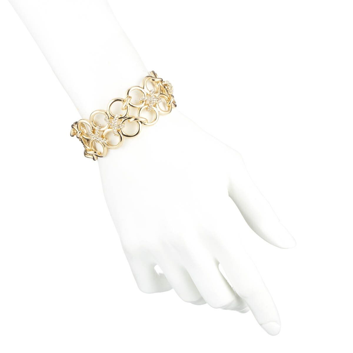Alexis Bittar gold Miss Havisham Swarovski Crystal Bound Link Cuff.NEW