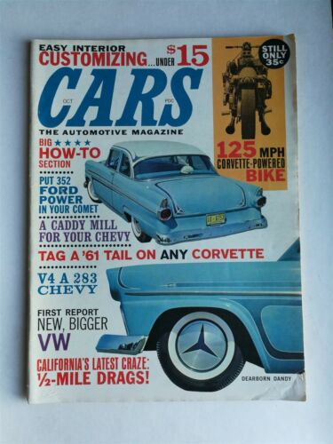 Cars Magazine October 1961 Giant How To Section VW 1500 Corvette Powered Bike