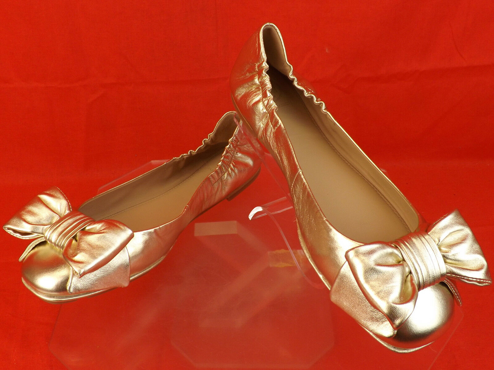 NIB TORY BURCH LIGHT GOLD LEATHER DIVINE BOW GOLD BALLET REVA BALLET GOLD FLATS 10 b12eeb