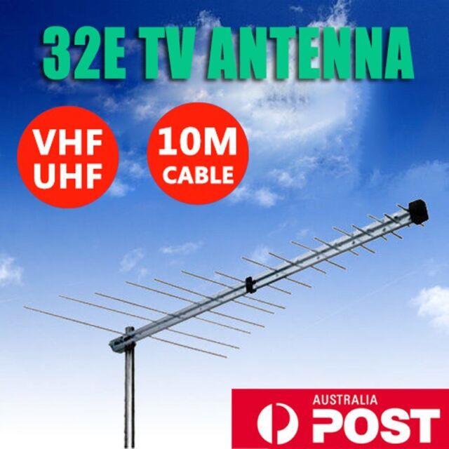 TV Antenna 32 Element Log Periodic Outdoor UHF VHF FM HDTV Digital Aerial BG