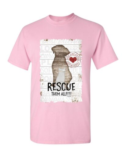 Rescue Them All T-Shirt Pet Dog Cat Shelter Animal Rescue Paw Mens Tee Shirt