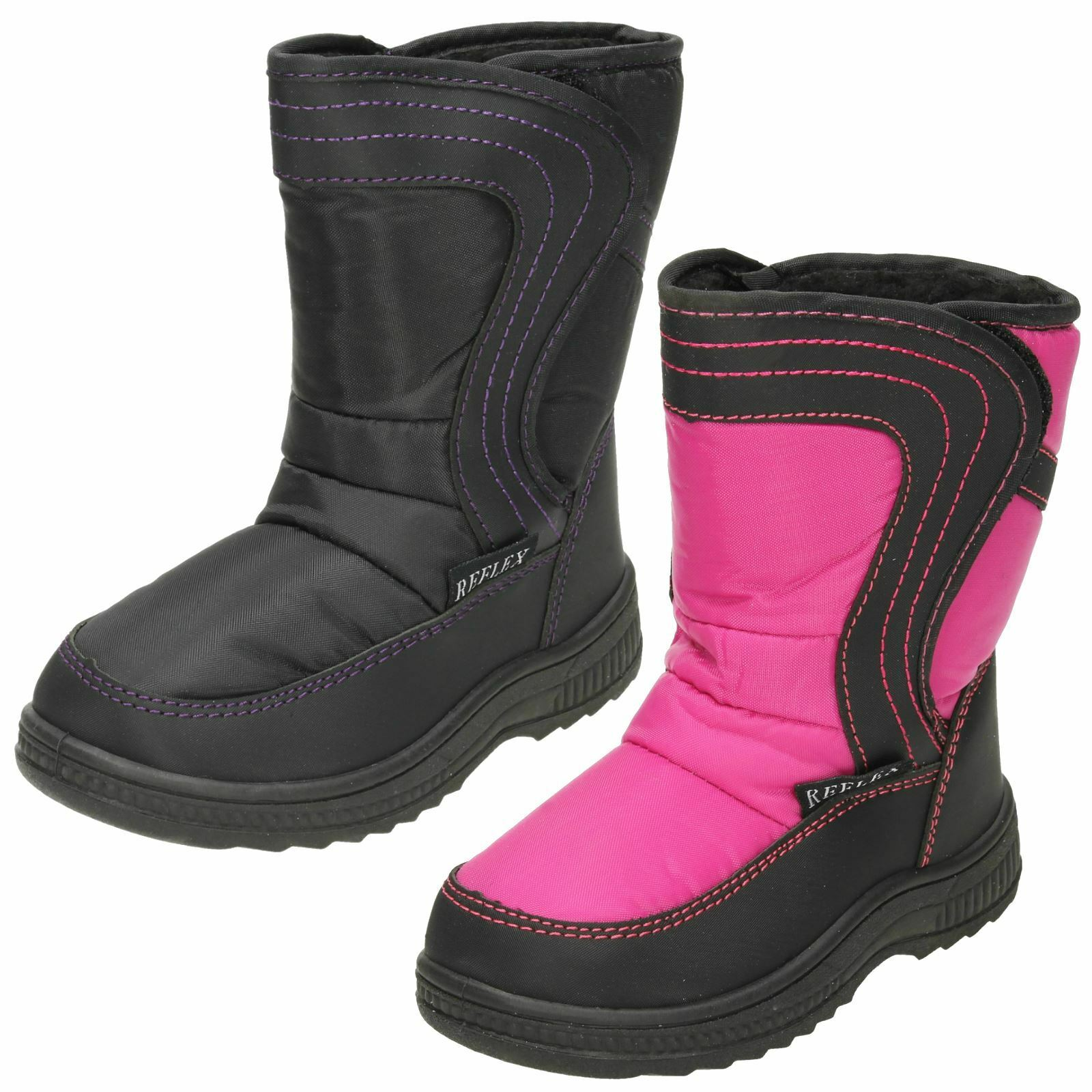 Girls H4072 Pink//Black synthetic riptape  snow boots  by REFLEX  Retail   £9.99