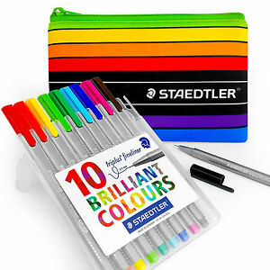 Staedtler - 10 x Assorted Coloured Triplus Fineliners and Pencil Case - 334 SB10