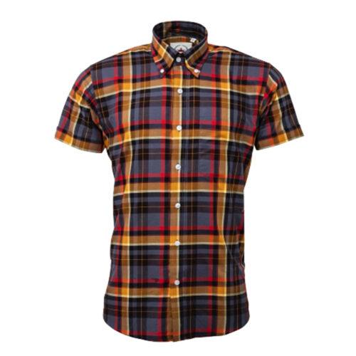 Men/'s Relco Grey Orange Wide Check Short Sleeve Button Down Skinhead Mod Shirt