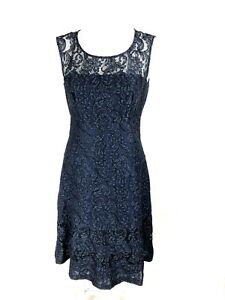 JACQUI-E-Navy-Blue-Lace-Cocktail-Event-Dinner-Sleeveless-Dress-Size-8