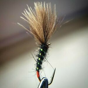 Olive Quill Cruncher size 16 Set of 3 Fly Fishing Flies Trout buzzers