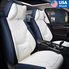 Blue Amp White Pu Leather Seat Cover Front Rear Full Set 5 Seats Car Cushion Pad