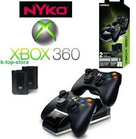 Xbox 360 Wireless Controller Charger Dock Dual Port+2 Rechargeable Batteries