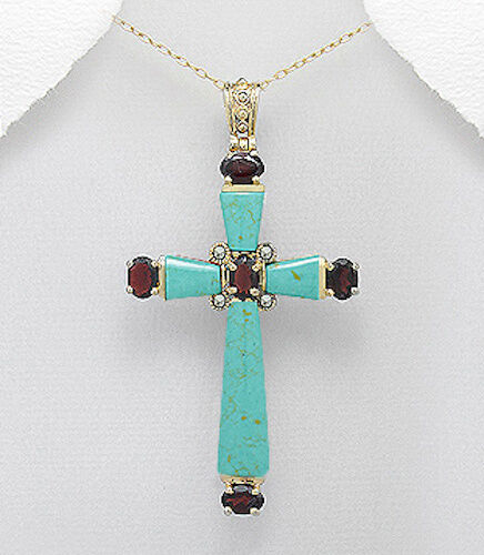 72mm Natural Light Green Turquoise & Ruby Brass FAITH Cross Pendant 10.9g BEAUTY