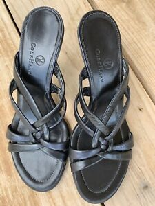 Cole-Haan-Womens-Sandals-Size-8-Leather-ankle-strap-pump-Black