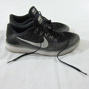5c45f7e141a8 Mens Nike Free RN Distance Black White Running Shoes 827115-010 Sz ...