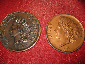 Hobo coin cent Indian chef Lincoln skull  copper 1877
