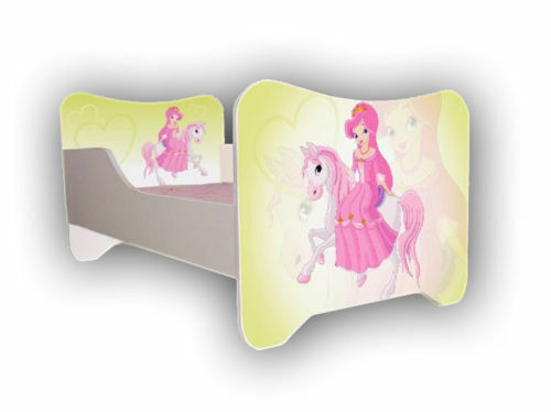 Enfants Lit poney, bébé-lit junior pour filles Enfants avec Matelas (140x70cm)